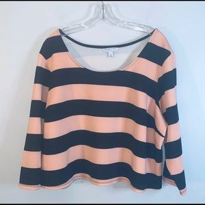 Ashley Nell Tipton 3/4 Sleeve Crop Top Striped  2X